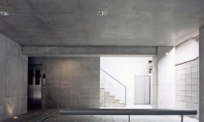 賃貸住居の屋上は中庭のあるオーナーの家|湯里の集合住宅 (エントランス05 共用部分全て四国緑石の乱貼)