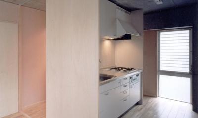 賃貸住居の屋上は中庭のあるオーナーの家|湯里の集合住宅 (可変間仕切の賃貸住宅01 キッチンと引戸)