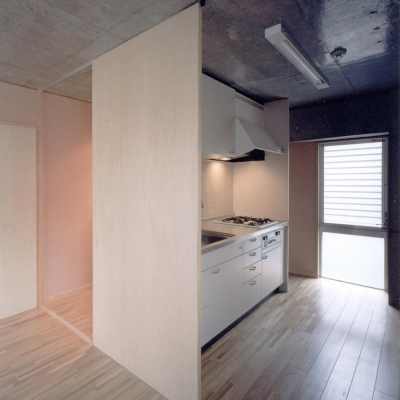 可変間仕切の賃貸住宅01 キッチンと引戸 (賃貸住居の屋上は中庭のあるオーナーの家|湯里の集合住宅)