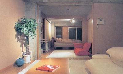 賃貸住居の屋上は中庭のあるオーナーの家|湯里の集合住宅 (可変間仕切の賃貸住宅02 3室が1室に)