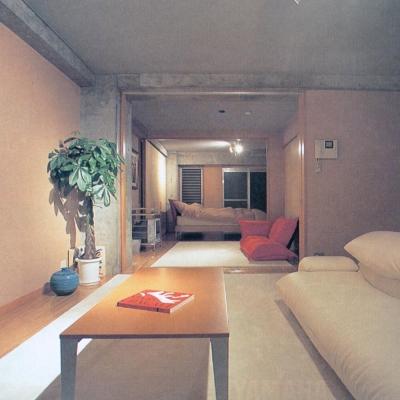可変間仕切の賃貸住宅02 3室が1室に (賃貸住居の屋上は中庭のあるオーナーの家|湯里の集合住宅)