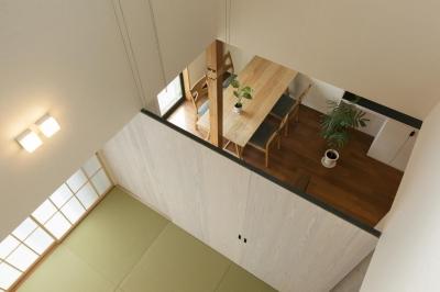 2階から見下ろす (湖陵町の家)