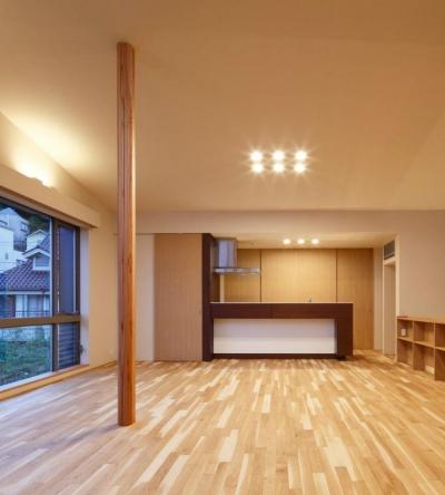 目神山の住家 (ダウンライトの灯ったLDK)