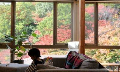 山の緑が望めるリビング|目神山の住家