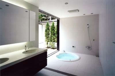 庭につながる洗面・浴室 (軽井沢の家3)