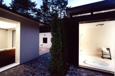 中庭から浴室、離れを見る (軽井沢の家3)