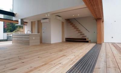 爽やかな風が通り抜ける家|9mの大開口の家 (両側デッキ広がるリビング06 大開口フラットレール)