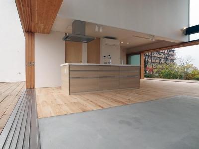 爽やかな風が通り抜ける家|9mの大開口の家 (両側デッキ広がるリビング07 大開口フラットレール)