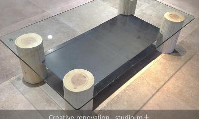 shabby modern 「ブリックタイルと格子」 (丸太テーブル)