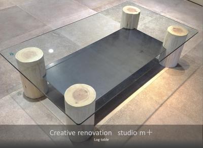 丸太テーブル (shabby modern 「ブリックタイルと格子」)