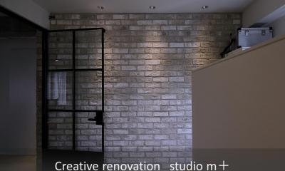 shabby modern 「ブリックタイルと格子」 (趣味部屋)