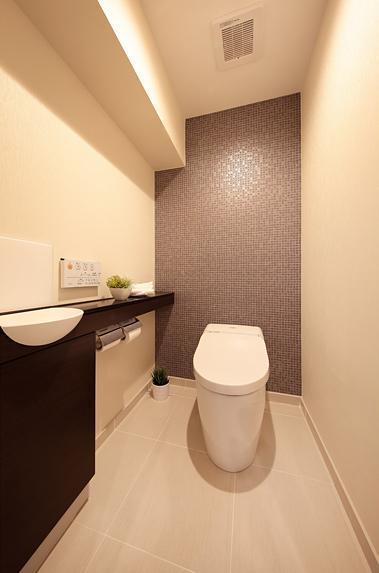住空間にサロンをもつという選択の部屋 落ち着いた雰囲気のトイレ