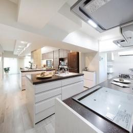 住空間にサロンをもつという選択 (洗練された表情のある大空間のキッチンサロン)