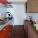 アクセントカラーのキッチン