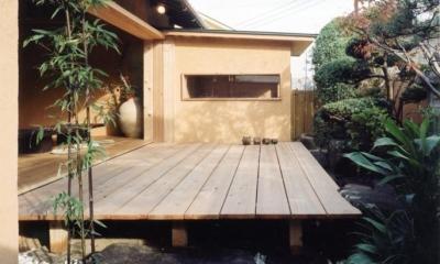 中庭のある自宅兼そば屋|木造リノベーション (既存の庭木を和モダンな空間に取り込む01 中庭・通り庭で繋がる)