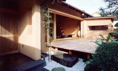 中庭のある自宅兼そば屋|木造リノベーション (既存の庭木を和モダンな空間に取り込む02 中庭・通り庭で繋がる)