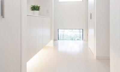 シンプルモダンの家 (明るい光が差し込む玄関)