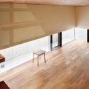 大きな部屋と小さな部屋の写真 低い水平窓のあるリビング