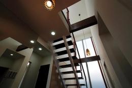「Kurenai色のある家」 (吹き抜け、階段見上げ)