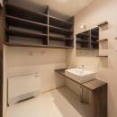 朽ちる家の写真 収納棚のある洗面室