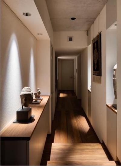 段差のある長い廊下 (田園調布の家)