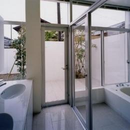 石岡の家 (ダブルボウルのある洗面室と白いバスルーム)