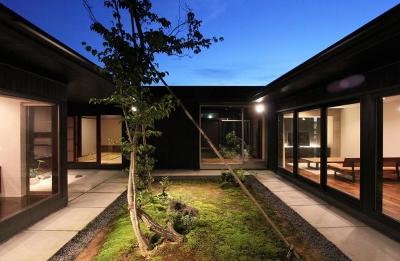 能美市の家 (ライトアップした中庭)