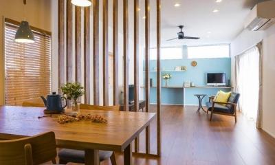 おうちカフェの家 (木製ルーバー間仕切り)