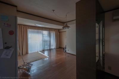 並木町のマンション|収納家具と障子で住戸のイメージを一新 (改修前のリビング)