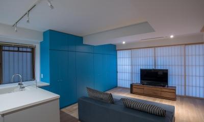並木町のマンション|収納家具と障子で住戸のイメージを一新 (リビング)