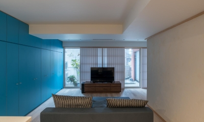 リビング|並木町のマンション|収納家具と障子で住戸のイメージを一新