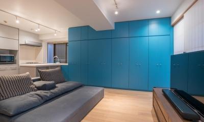 リビング壁面収納|並木町のマンション|収納家具と障子で住戸のイメージを一新