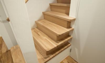 三層回遊の家 (1階の階段)