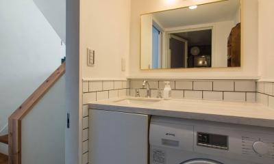 わさび(♂)オミソシル(♀)とアンティーク (洗面脱衣所は床、壁をタイル張りに)