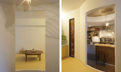 aki-廊下に「広場」、バルコニーに風呂 (和室、キッチン)