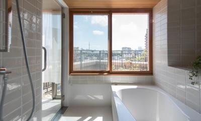 文京区Iさんの家 (浴室からの眺望)