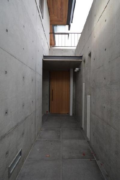 gokenya no ie (コンクリートで囲まれた玄関アプローチ)