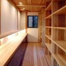 静岡県伊東市にある築100年の古民家の写真 造作棚と造作デスクのあるスペース