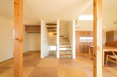 折り返しのオープン型階段 (ちいさく・ひろく・ひろく   ー横井のN-House)