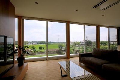 栃木県宇都宮市 House K - 太陽と風をつかまえる家 - (全面開口のリビング)