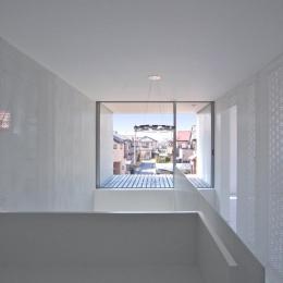 埼玉県鴻巣市 House T  - キリのキョリのイエ - (廊下からテラスを眺める)