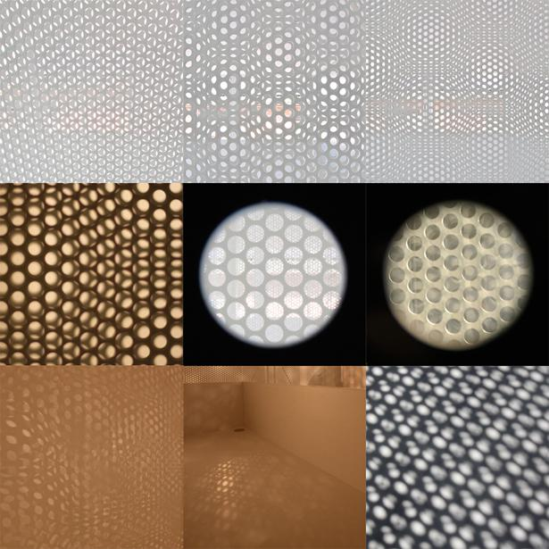 埼玉県鴻巣市 House T  - キリのキョリのイエ -の写真 有孔板で作り出す光
