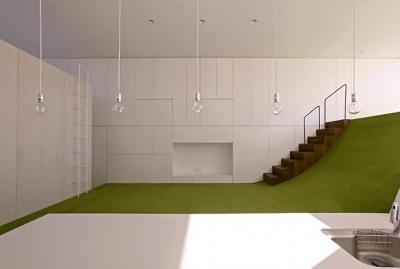 遊び心のあるテラスと一体化したキッチン (群馬県前橋市 House S  - 凹と凸 -)