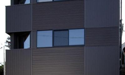 naked house (既存住宅の地盤面に合わせる形で棟別増築した鉄骨造住宅)