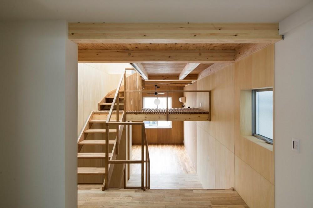 House in Osaki (ダイニングキッチンからリビングを眺める)