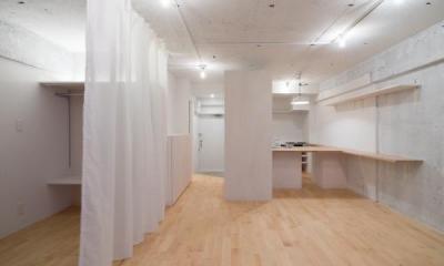 明大前のリノベーション (カーテンで仕切るワンルーム空間-CLOSE)