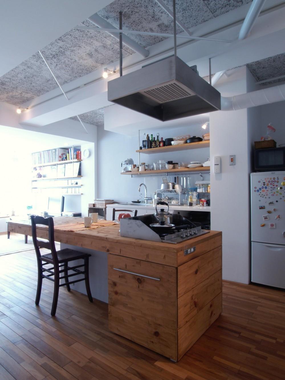 BBQスタイルのキッチンとインナーテラス (家事動線と、楽しさや気持ちよさを考えて設計)