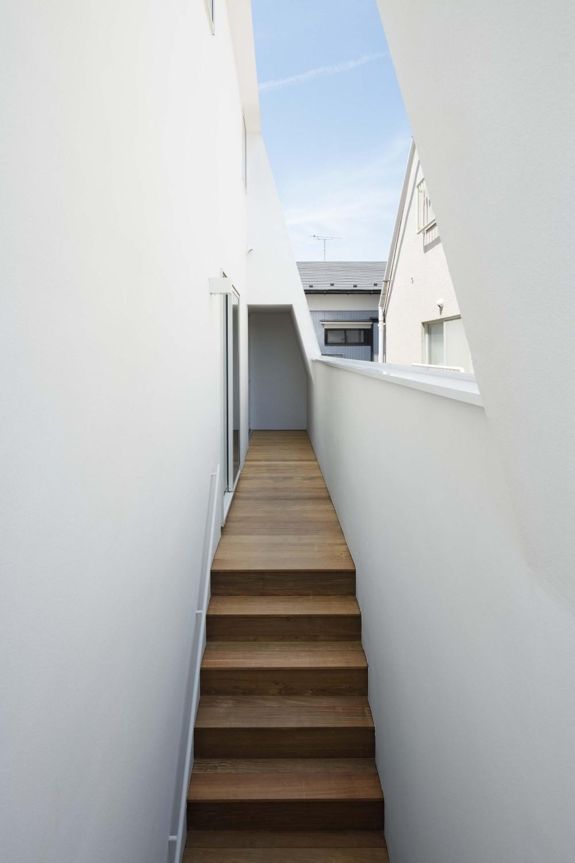 大森の工場付住宅 (ベランダにある階段)