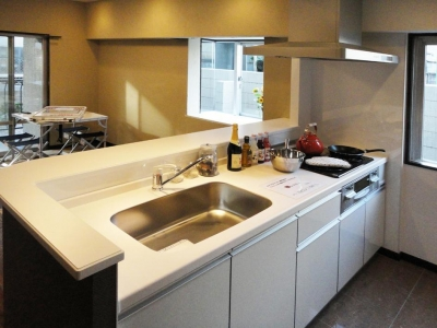 case91・無垢材フローリングと漆喰壁のエコ・リノベーション (キッチン)
