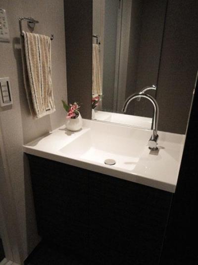 洗面所 (case91・無垢材フローリングと漆喰壁のエコ・リノベーション)